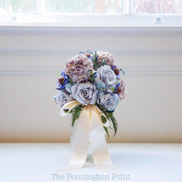 Bridal bouquest made from book page flowers