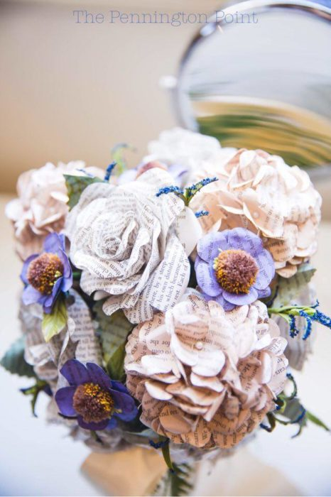 Beautiful book page flowers brides bouquet made with book page flowers mightylinksfo